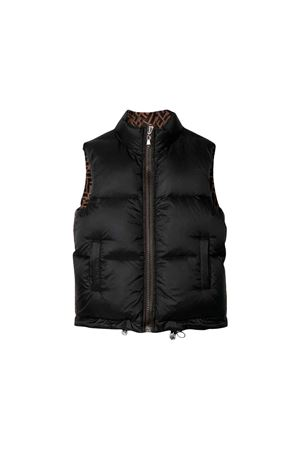 Black sleeveless down jacket Fendi kids  FENDI KIDS | 38 | JUA059A4RTF0UZ6