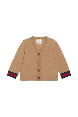 Cardigan cammello con dettagli multicolor Gucci kids GUCCI KIDS | 39 | 418777X12842518