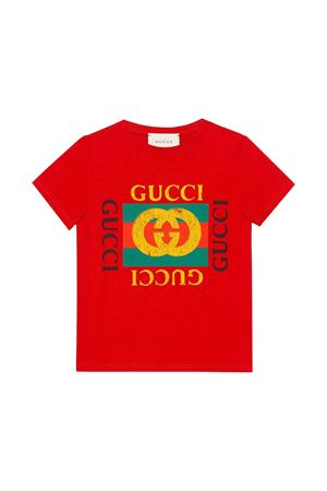 Red t-shirt with multicolor frontal press Gucci kids GUCCI KIDS | 8 | 475740X3G176017