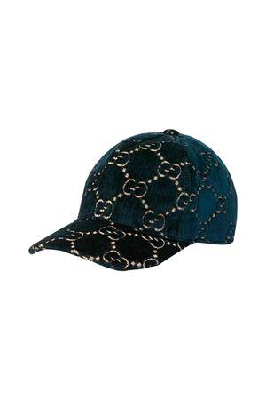 Blue velvet Gucci kids cap with visor  GUCCI KIDS   75988881   4817574HH094268