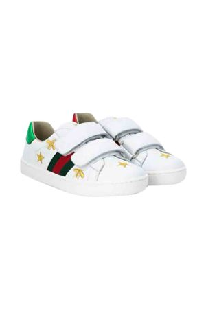 White sneakers with multicolor details and goldenn bee press Gucci kids GUCCI KIDS | 12 | 5044980II409064