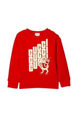 Red sweatshirt with white frontal press Gucci kids GUCCI KIDS | -108764232 | 547560XJBDD6133