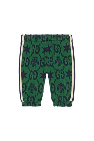 Green trousers with blue logo trama Gucci kids GUCCI KIDS | 9 | 575043XJA993344