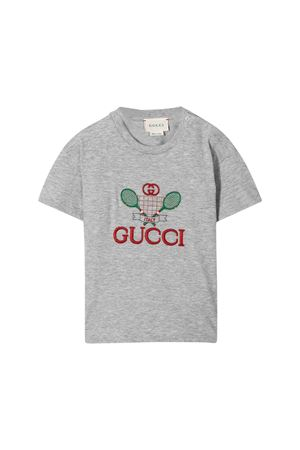 Grey t-shirt with multicolor press Gucci kids GUCCI KIDS | 8 | 576871XJBK21135