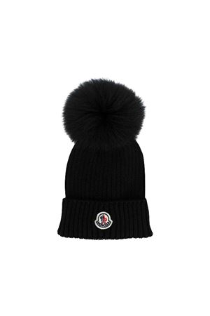 Black cap with logo and ponpon Moncler kids Moncler Kids | 25189572 | 002560504S01999