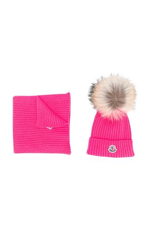 Moncler kids fuchsia hat and scarf set  Moncler Kids | 25189572 | 009510604S01546