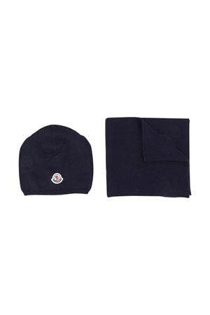 Moncler kids dark blue scarf and cap set  Moncler Kids | 25189572 | 9980506A9293778