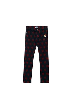 Blue teen trousers with heart press Moschino kids MOSCHINO KIDS | 9 | HDP03FLXF0240613T