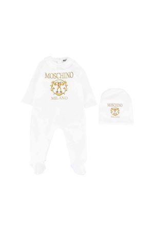 White babygrow with gold logo Moschino kids MOSCHINO KIDS | 5032327 | MUY02KLDA1610101