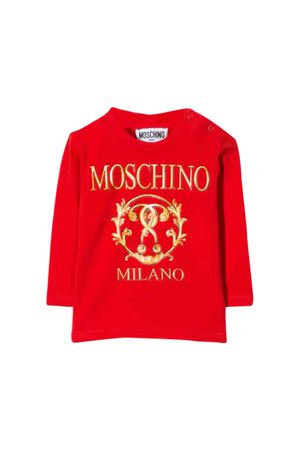 Red long sleeves t-shirt with golden frontal press Moschino kids MOSCHINO KIDS | 8 | MVM01VLBA1150109
