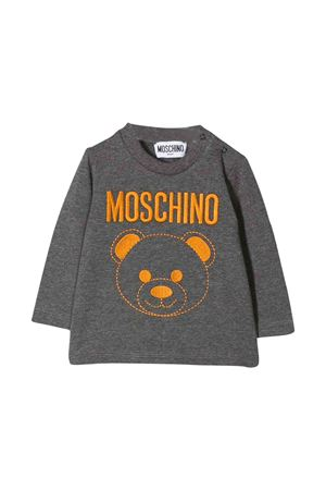 Grey t-shirt with orange frontal press Moschino kids MOSCHINO KIDS | 8 | MZM01VLBA1160907