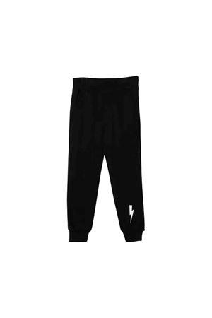 Pantaloni teen neri con stampa bianca Neil Barrett kids NEIL BARRETT KIDS | 9 | 020605110T