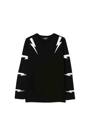 Black teen shirt with white frontal press Neil Barrett kids NEIL BARRETT KIDS | 7 | 020631110T