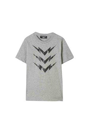 T-shirt teen grigia con stampa nera frontale Neil Barrett kids NEIL BARRETT KIDS | 8 | 020633101T