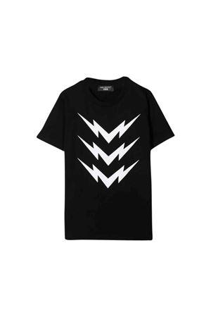 T-shirt nera con stampa bianca frontale Neil Barrett kids NEIL BARRETT KIDS | 8 | 020633110