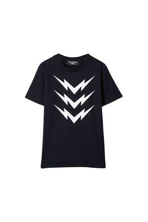 T-shirt blu con stampa bianca frontale Neil Barrett kids NEIL BARRETT KIDS | 8 | 020633160