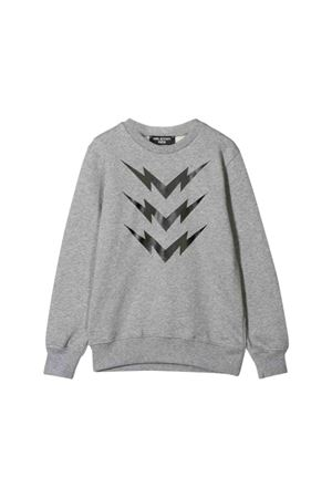 Grey teen sweatshirt with black frontal press Neil Barrett kids NEIL BARRETT KIDS | -108764232 | 020634101T