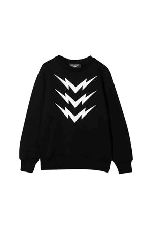 Black sweatshirt with white frontal press Neil Barrett kids NEIL BARRETT KIDS | -108764232 | 020634110