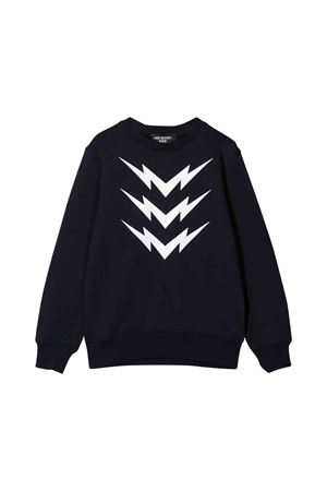 Blue teen sweatshirt with white frontal press Neil Barrett kids NEIL BARRETT KIDS | -108764232 | 020634160T