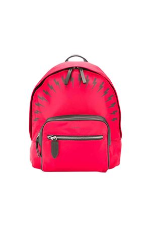 Red backpack with black press Neil Barrett kids NEIL BARRETT KIDS | 279895521 | 020644040