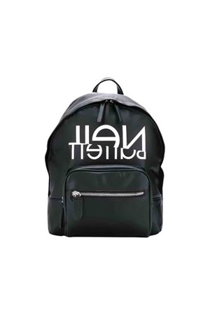 Black backpack with white press Neil Barrett kids NEIL BARRETT KIDS | 279895521 | 020645110