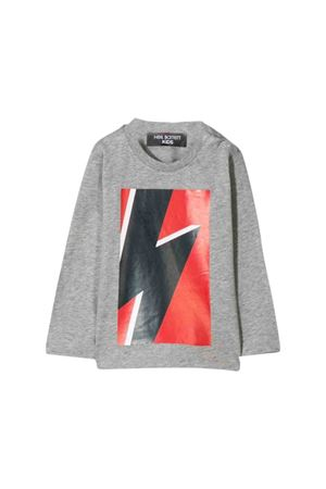 Grey shirt with multicolor frontal press Neil Barrett kids NEIL BARRETT KIDS | 7 | 020656101