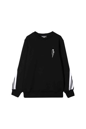 Black sweatshirt with white press Neil Barrett kids NEIL BARRETT KIDS | 7 | 021331110