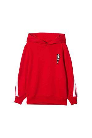 Red teen sweatshirt with hood and white side stripes Neil Barrett kids NEIL BARRETT KIDS | -108764232 | 021332040T