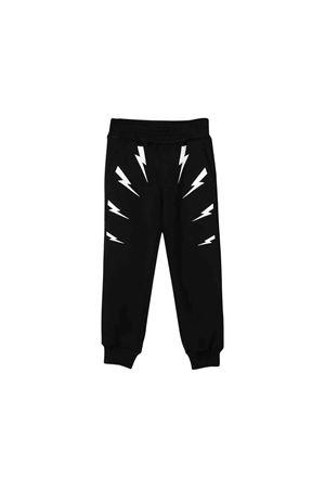 Pantalone teen nero con stampa bianca Neil Barrett kids NEIL BARRETT KIDS | 9 | 021380110/09T