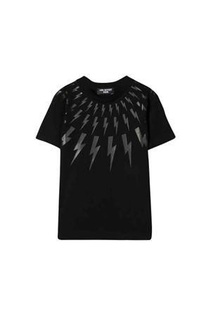 Black t-shirt with silver press Neil Barrett kids NEIL BARRETT KIDS   8   021381110