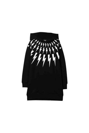 Black sweatshirt with hood and white press Neil barrett kids NEIL BARRETT KIDS | -108764232 | 021388110