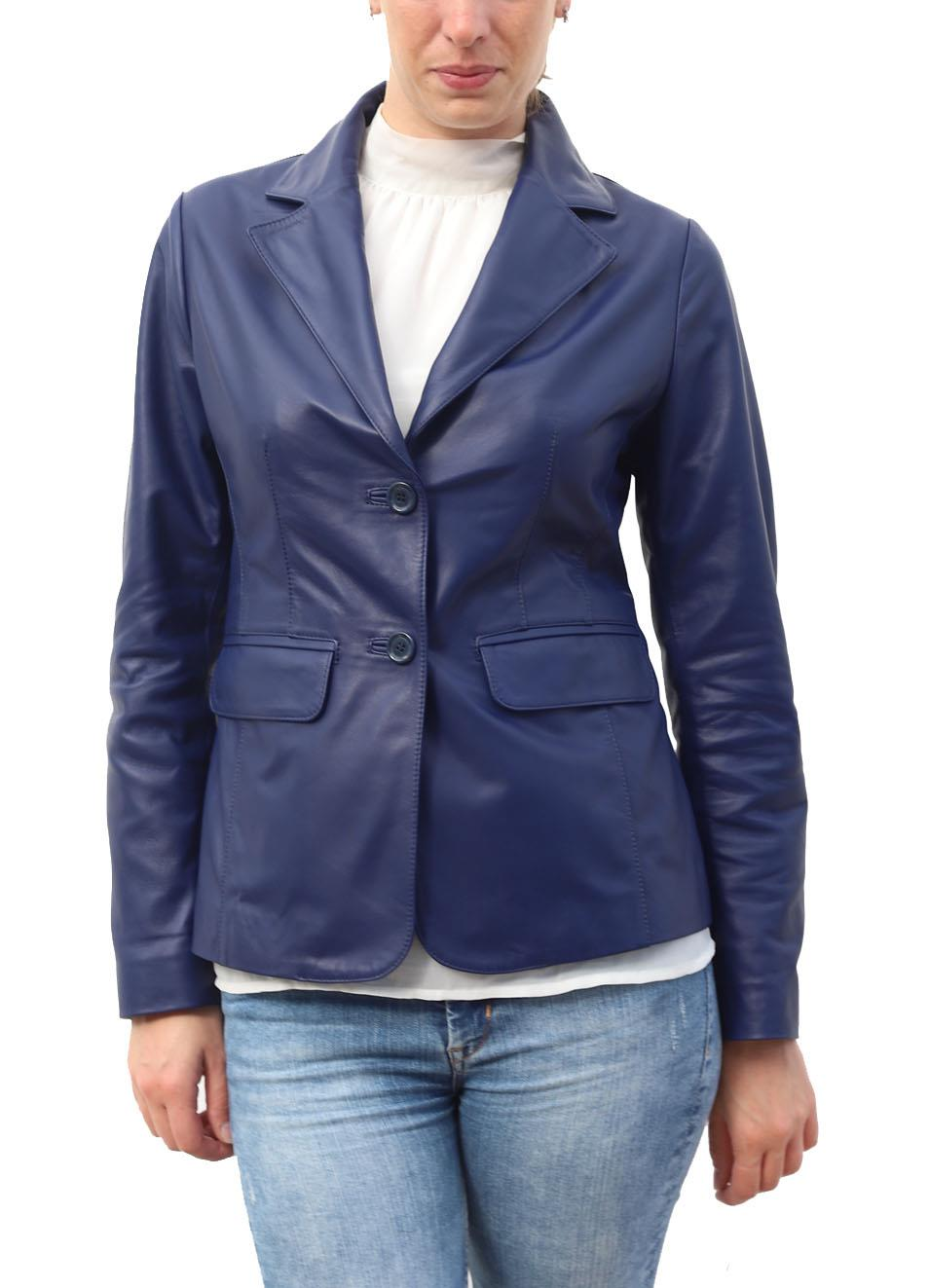 the latest 6ab49 c8724 Giacca sartoriale da donna in pelle blu