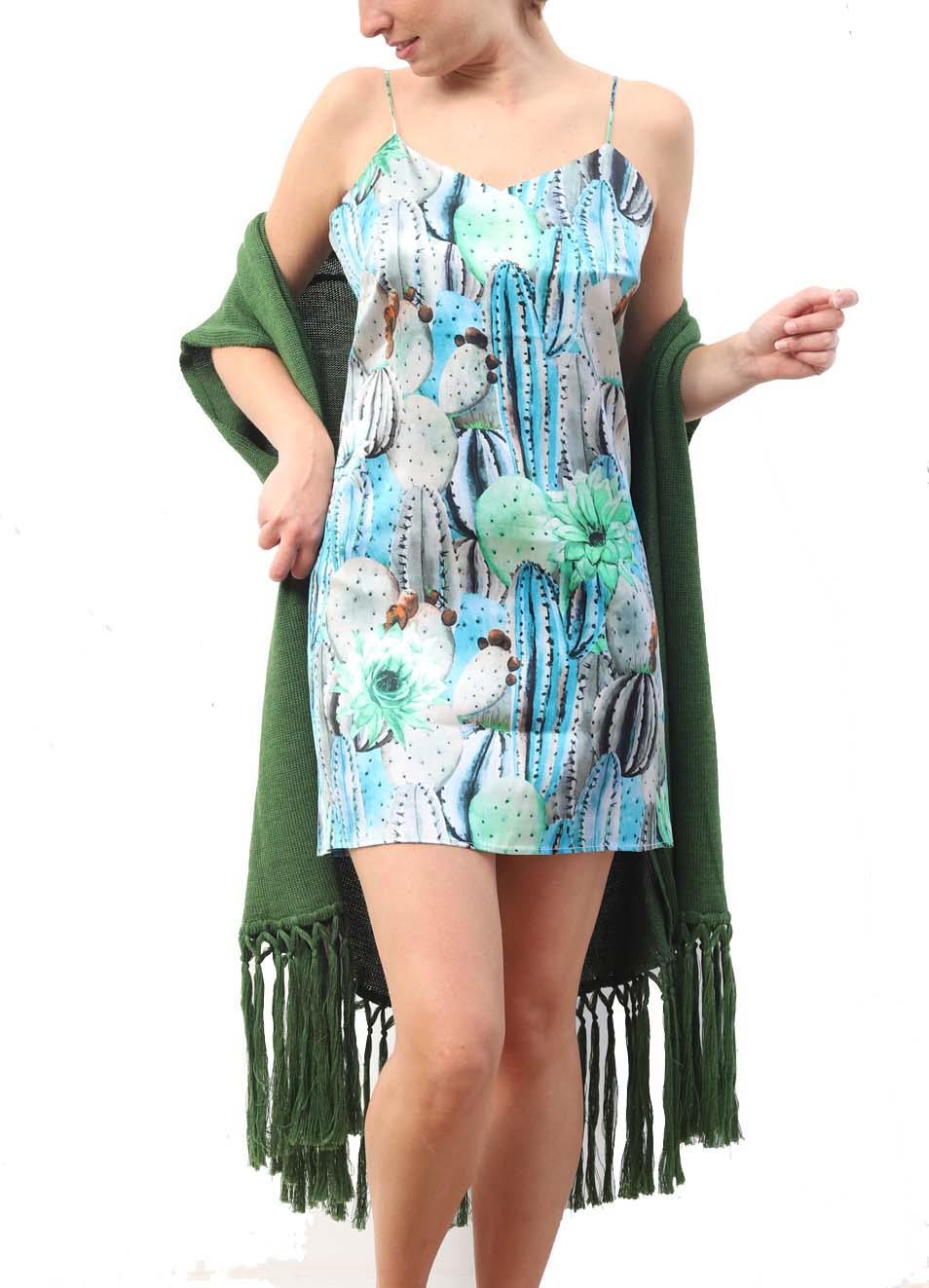 differently ecf4f b0bde Vestito corto in seta con fantasia cactus