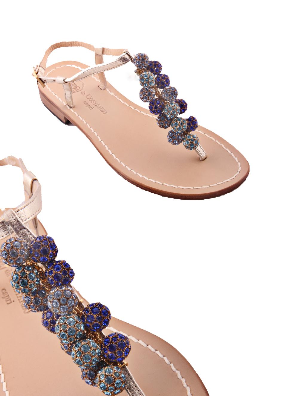 4da44efb54eb Capri sandals with blue jewels - Da Costanzo - Manecapri