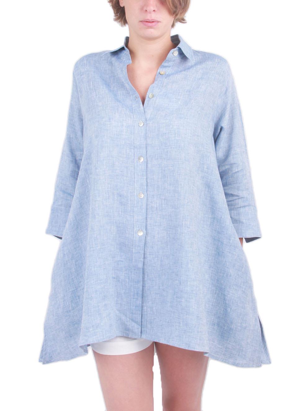 new concept c1fed ef626 Camicia ampia in lino azzurro - Colori Di Capri - Manecapri