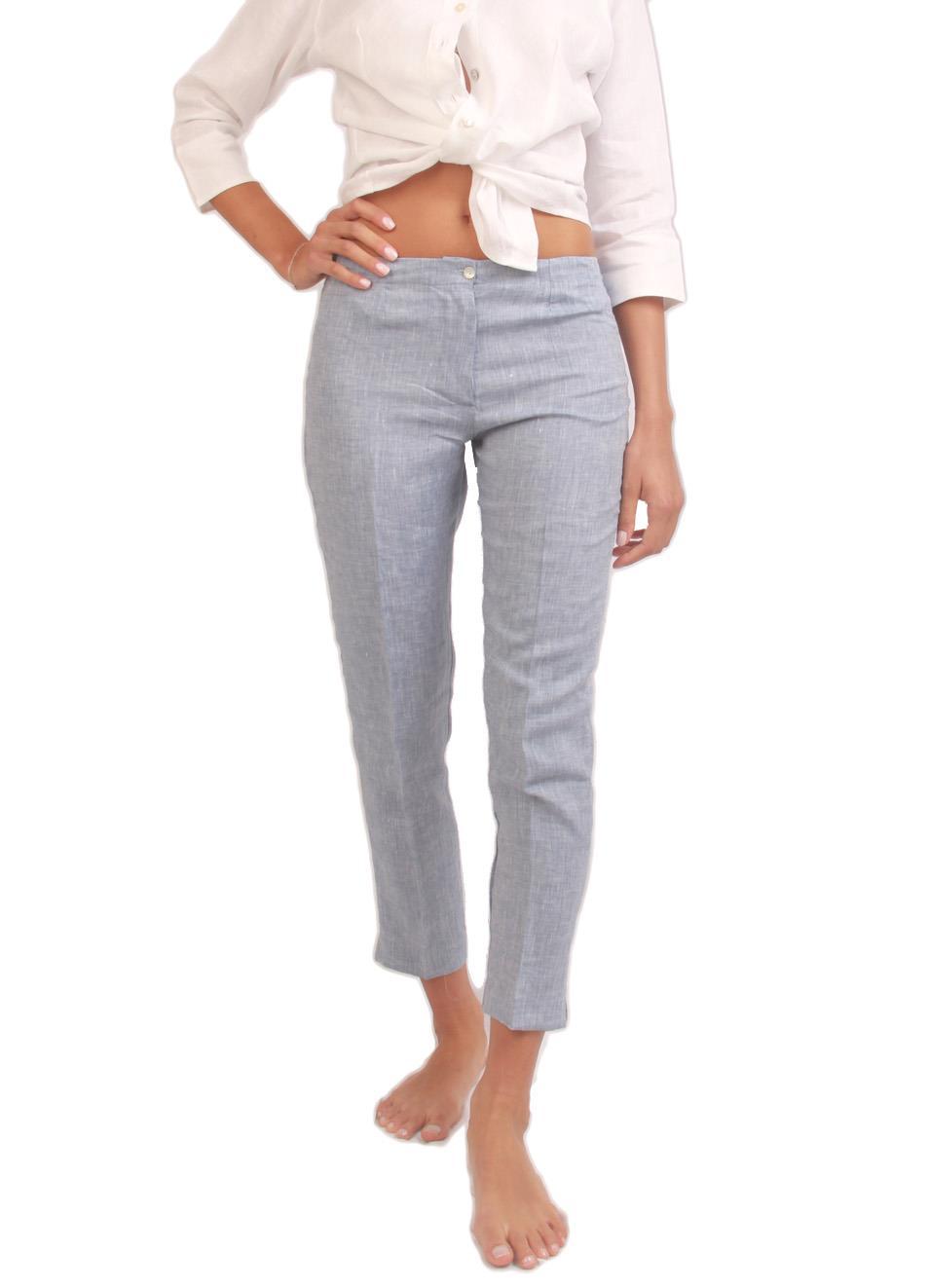 vendita all'ingrosso store bene fuori x Capri pants in pure grey linen - Colori Di Capri - Manecapri