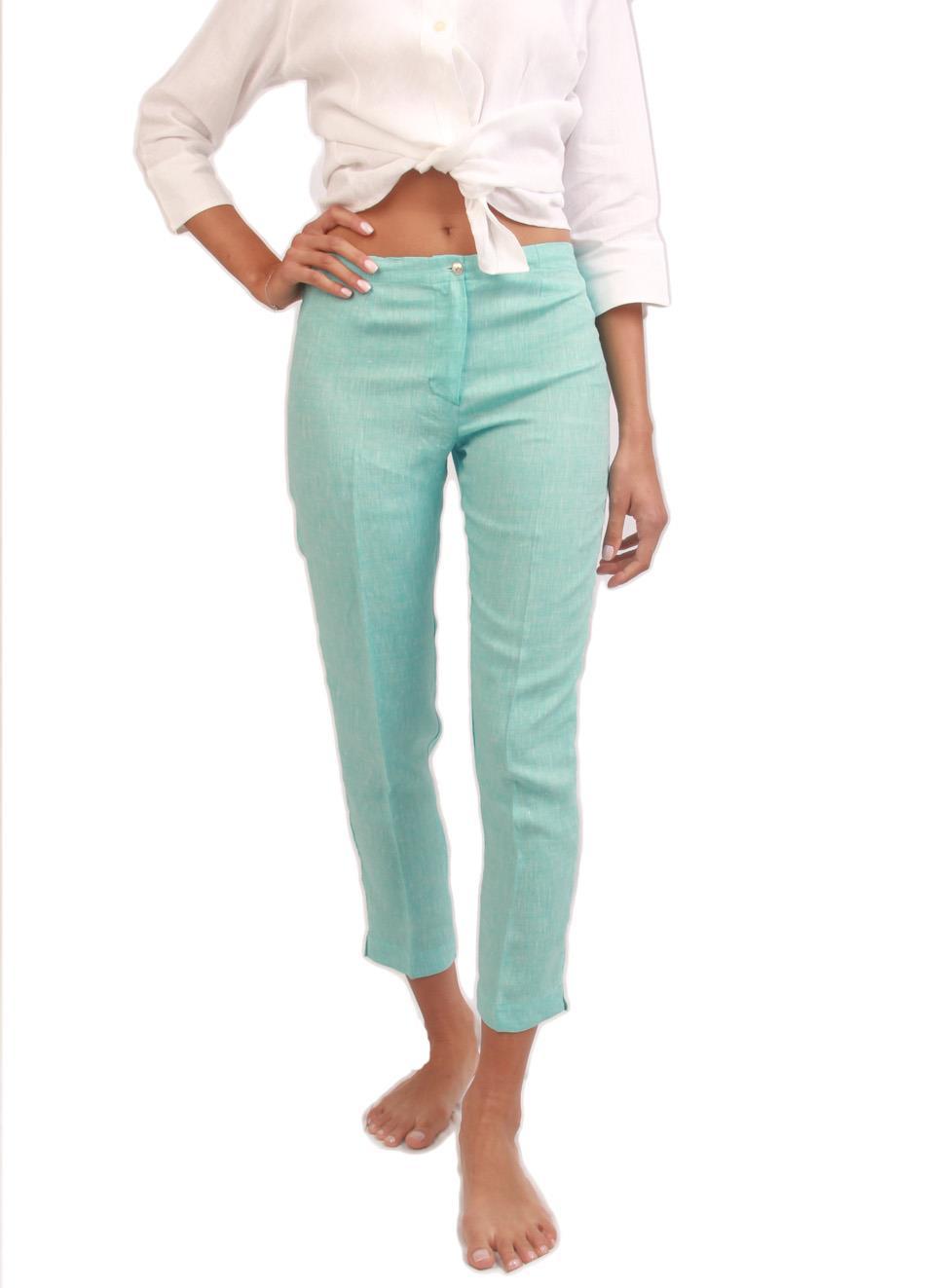 timeless design f4f2b 4904d Pantaloni stile Capri in puro lino turchese