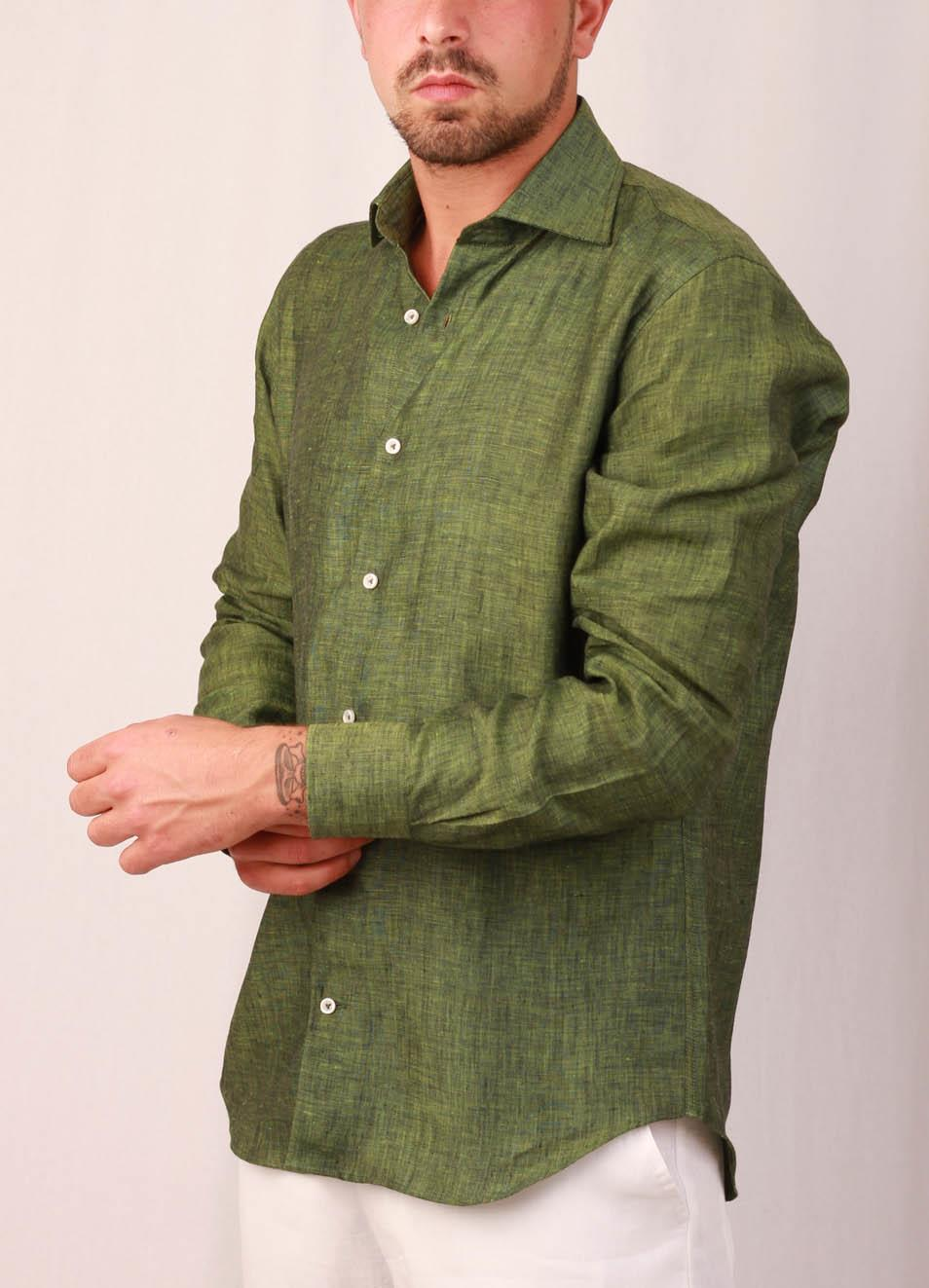 promo code 08937 29b67 Camicia in lino da uomo verde militare