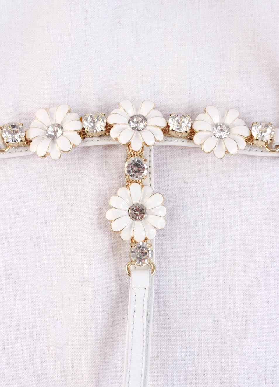 White Jewel Sandals With Flowers For Baby Girl Cuccurullo Manecapri