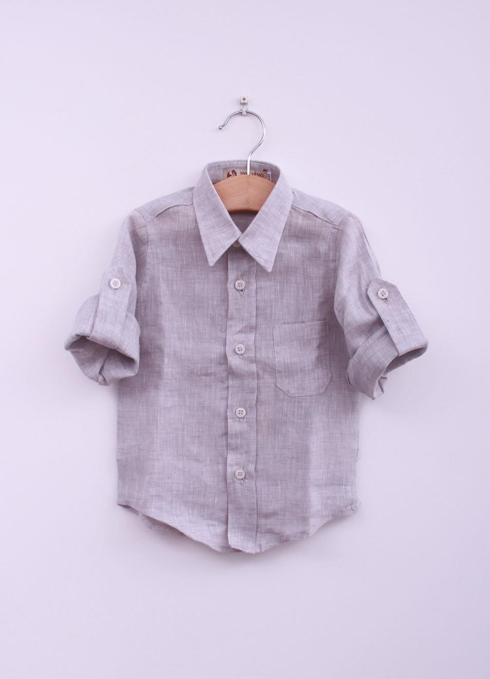metà fuori 1e811 7c1e3 Camicia da bambino in lino grigio