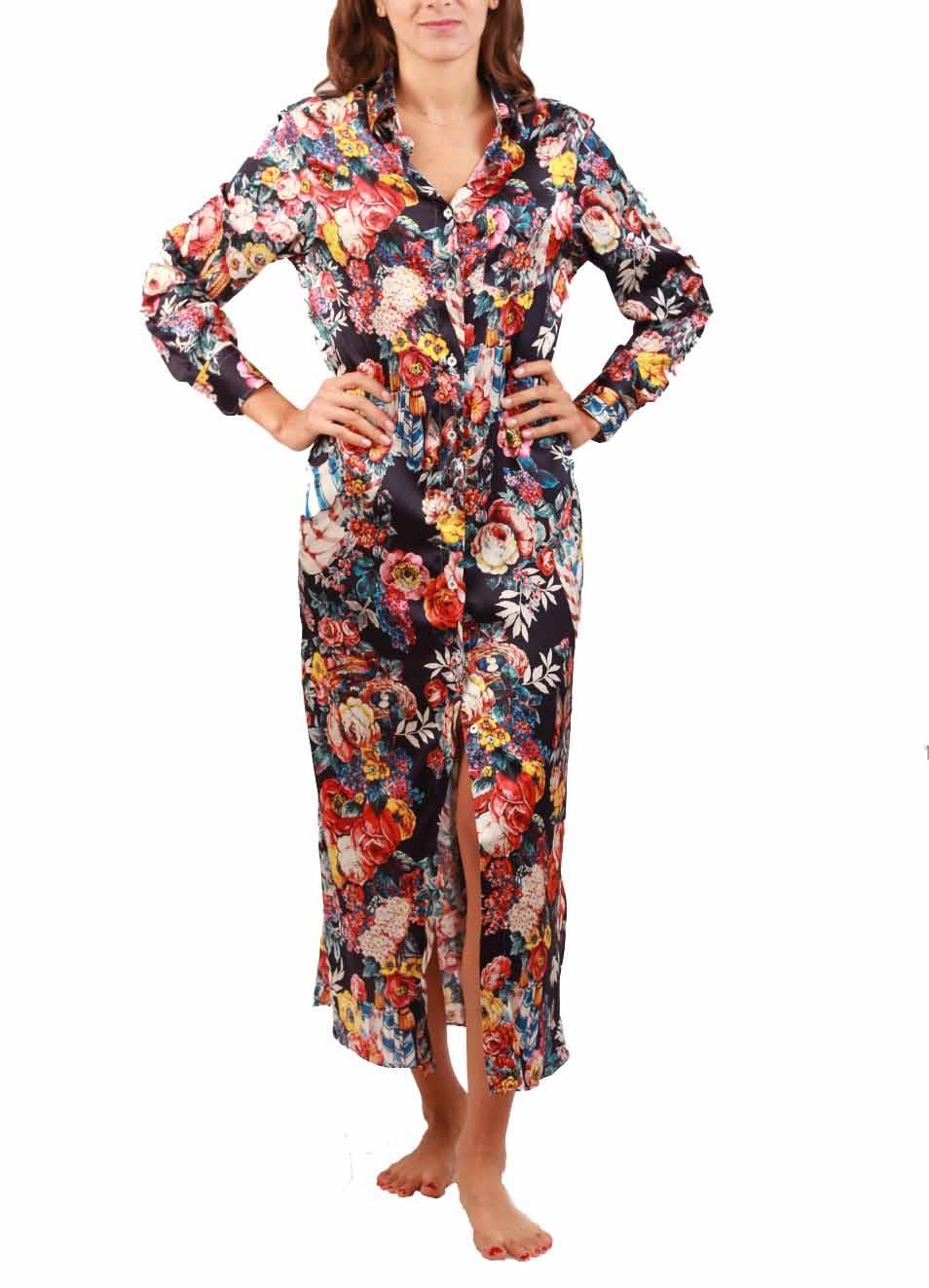 9b79b47cb0 Flower silk long shirt - Laboratorio Capri - Manecapri