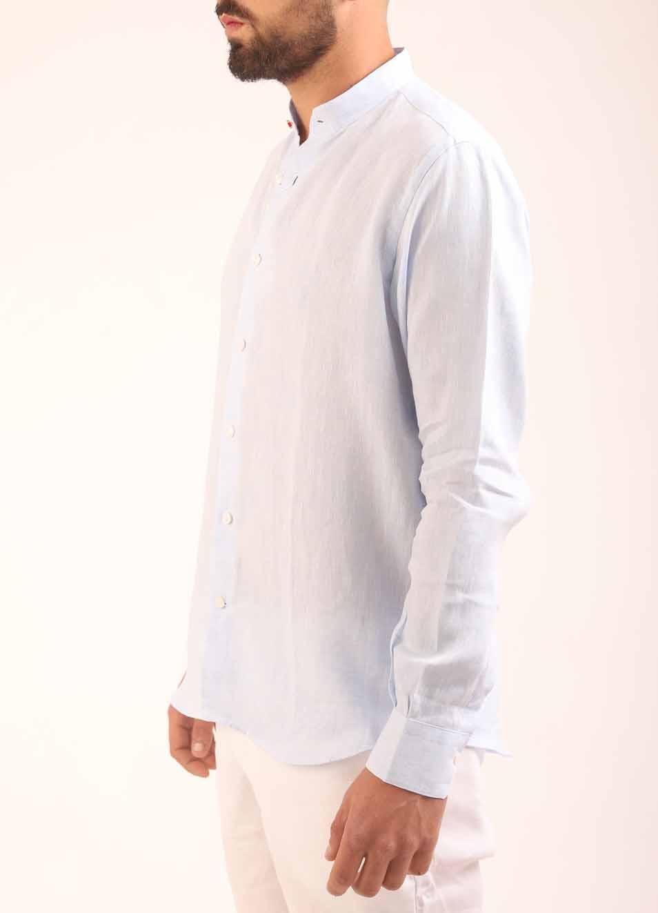 new style 81032 426e0 Camicia di lino uomo con collo alla coreana