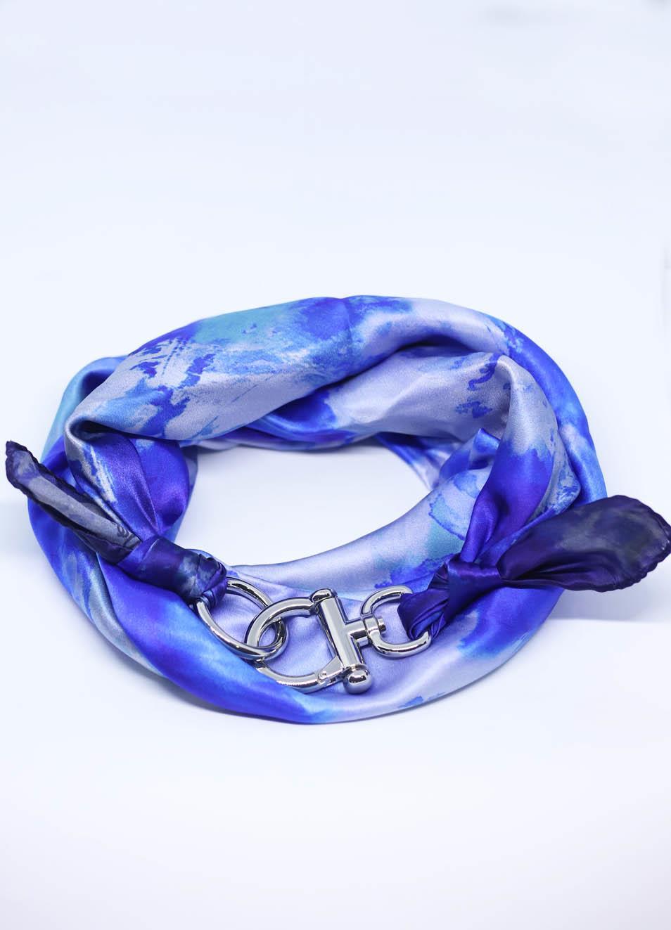 Fiori Blu.Adjustable Pure Silk Scarf With Flowers Grakko Fashion Manecapri