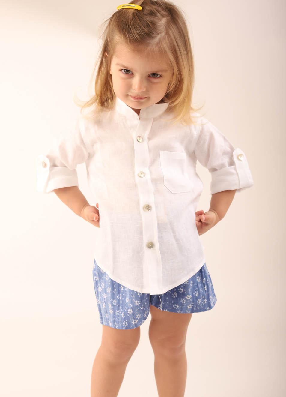release date: a0fcd d53be Camicia bambina e bambino in lino bianco collo coreana