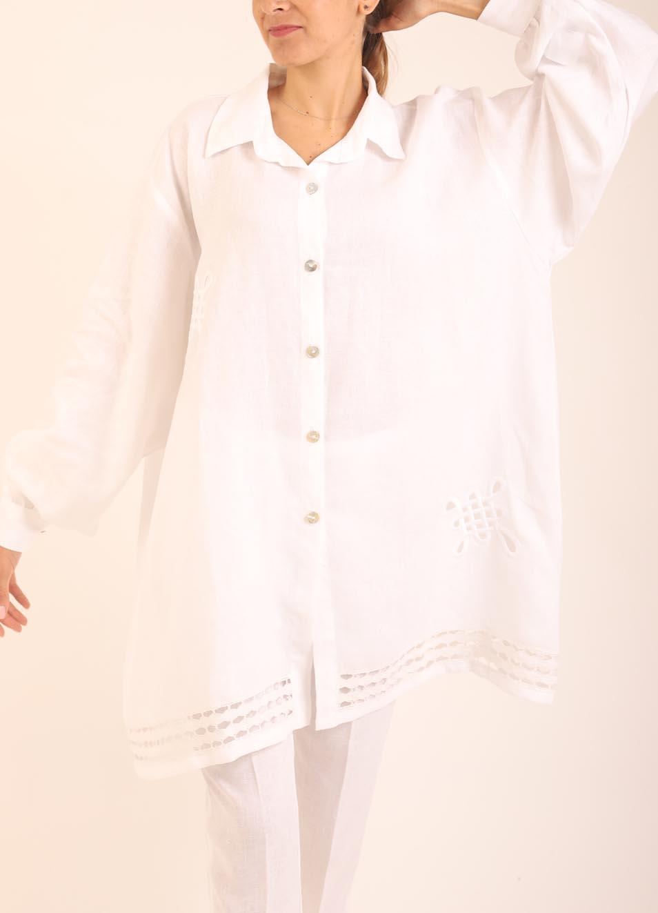 outlet store 573a4 cac1f Camicia ampia in puro lino
