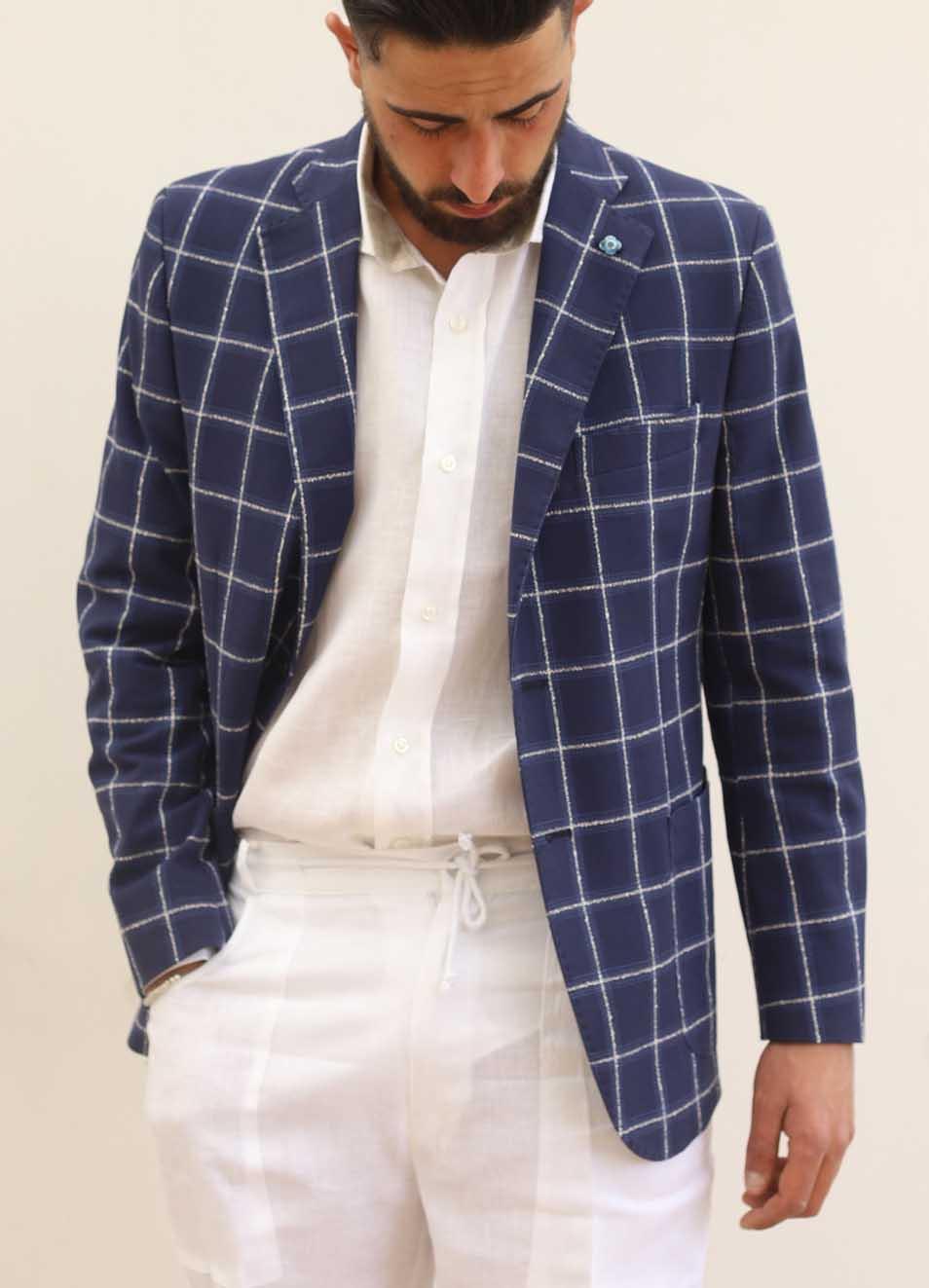 nuova collezione ab230 0df2b Giacca elegante da uomo in lino blu