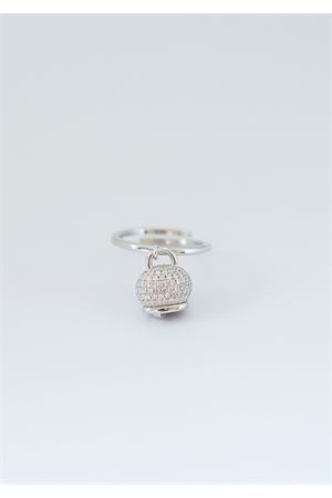 Adjustable silver ring with Capri bell charm  Pierino Jewels | 5032250 | 4019BIANCO