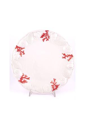 Piatto piano con decorazioni di corallo Sea Gull Capri | 20000026 | 16541ROSSO