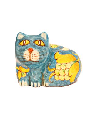 Ceramic Cat Sea Gull Capri | 20000025 | MICIO SEDUTOSEDUTO TURCHESE