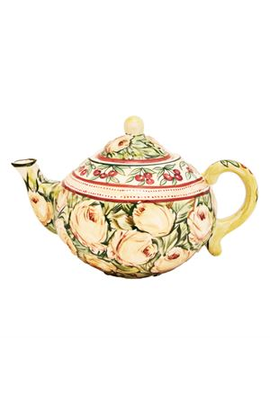 Hand painted ceramic Teapot Sea Gull Capri   20000026   TEAPOT GRGREEN ROSE TP